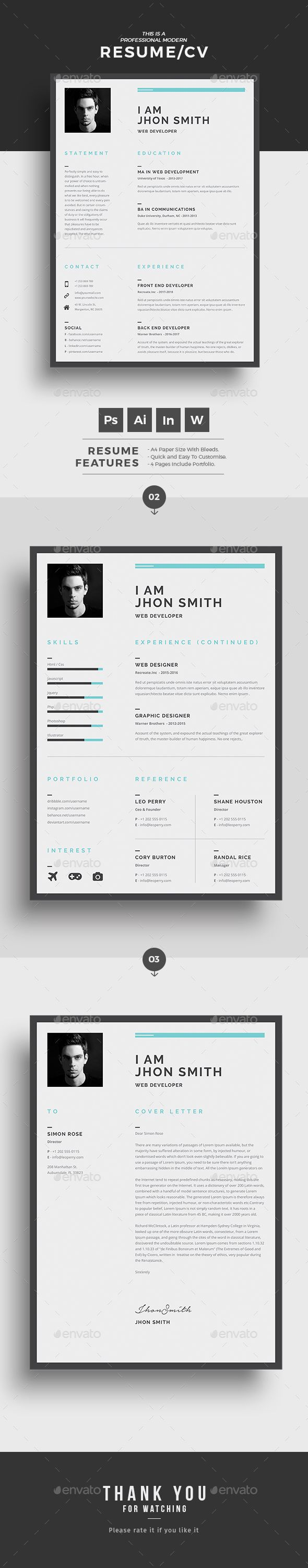 Resume  Cv Template Resume Cv And Photoshop Illustrator
