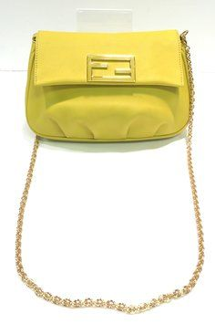 a8fa01ae19 fendista  Calfskin Pochette with Enamel Logo Bright Yellow Leather ...