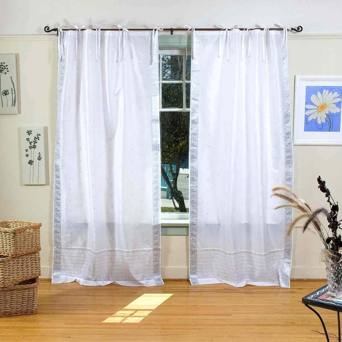 Indian Selections White Silver Tie Top Sheer Sari Curtain Drape
