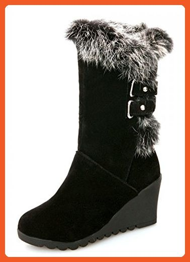 Women's Comfy Fleece Lined Faux Suede Mid Calf Boots Platform Mid Chunky Heels Snow Booties
