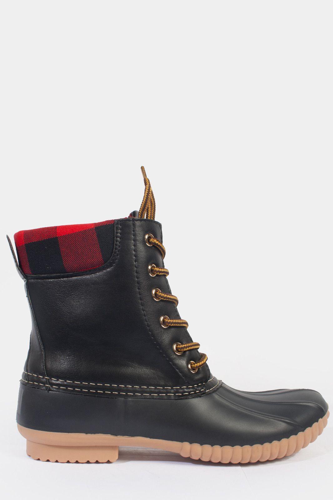 9cb86ff12540 Plaid Duck Rain Boots