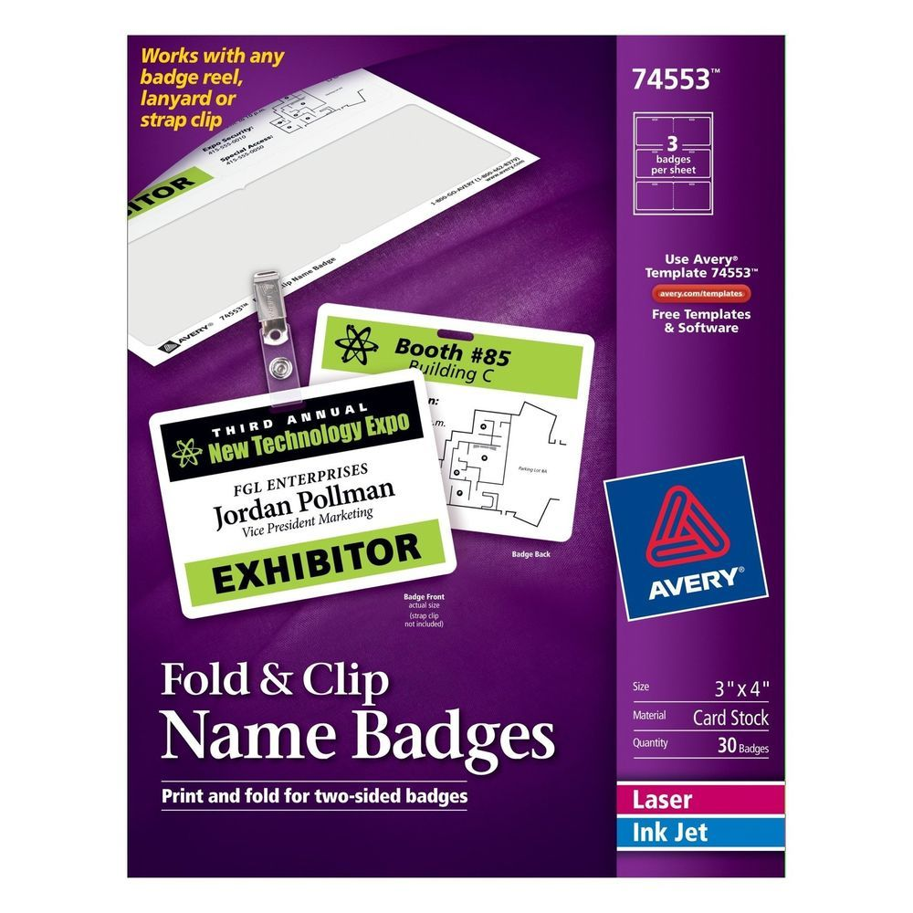 Avery Fold and Clip Name Badges 3 x 4 Inches White Box of 30  (74553) Avery #Avery