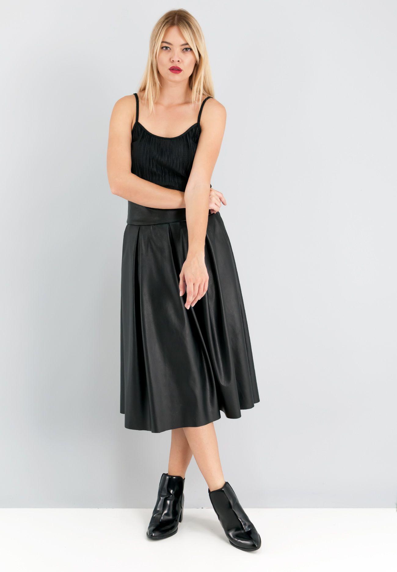 d98251033c6 Leather look midi φούστα σε Α γραμμή με πιέτες και τσέπες στα πλάγια ...