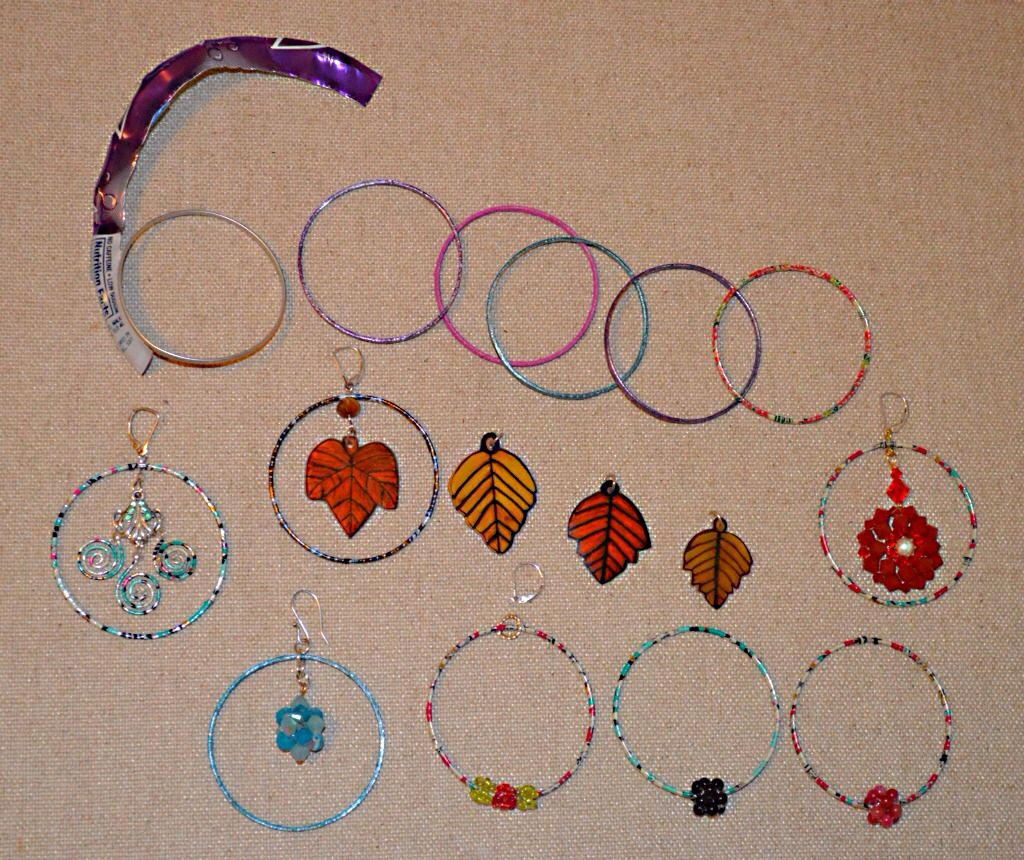 Hoop Earrings Using Aluminum Soda Can Hoops I Used Shrink Plastic Leaves,  Swarovski Crystal Beads