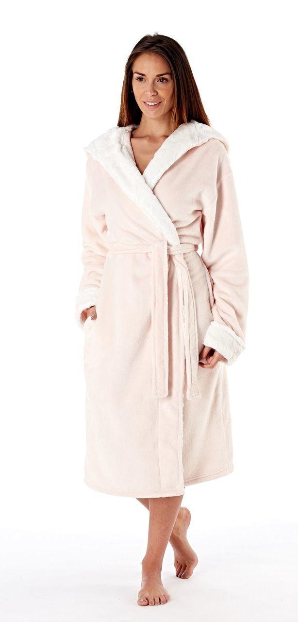 Ladies Pink Luxury Fleece Curly Fur Lined Hooded Bath Robe | Bath ...