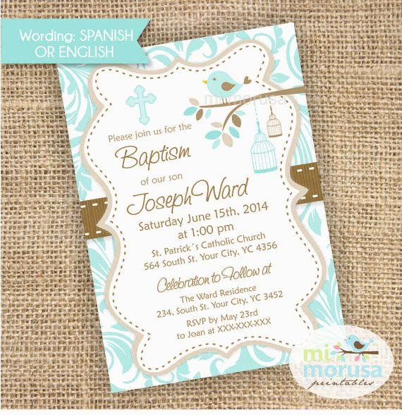 Baptism, Bird in branch, birdcage, Christening, baby Boy Printable ...