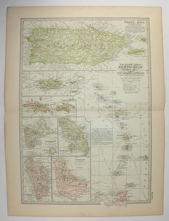Vintage Map Puerto Rico Virgin Islands Map Island Vacation - Map of puerto rico caribbean islands