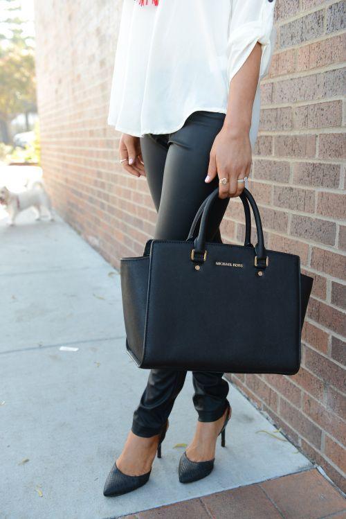 leather pants + michael kors selma satchel | Style,Naiset ja