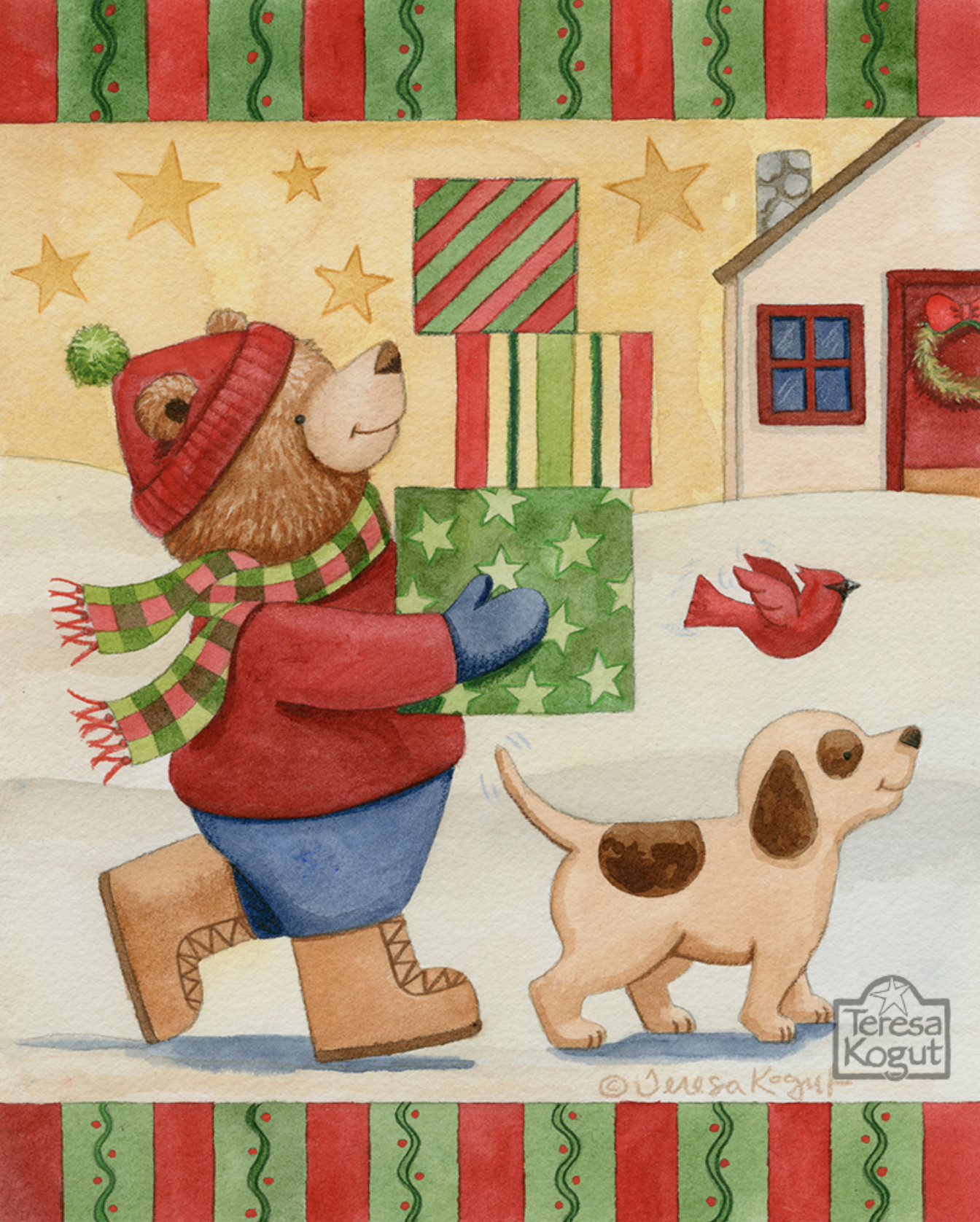 """Christmas Shopping"" watercolor painting by Teresa Kogut.  #christmas #teddybear #dog #illustration #artwork"