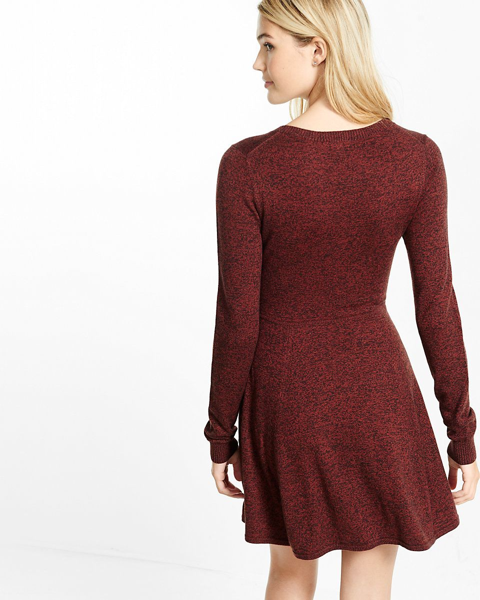 687cd155fb hint of cashmere fit and flare sweater dress