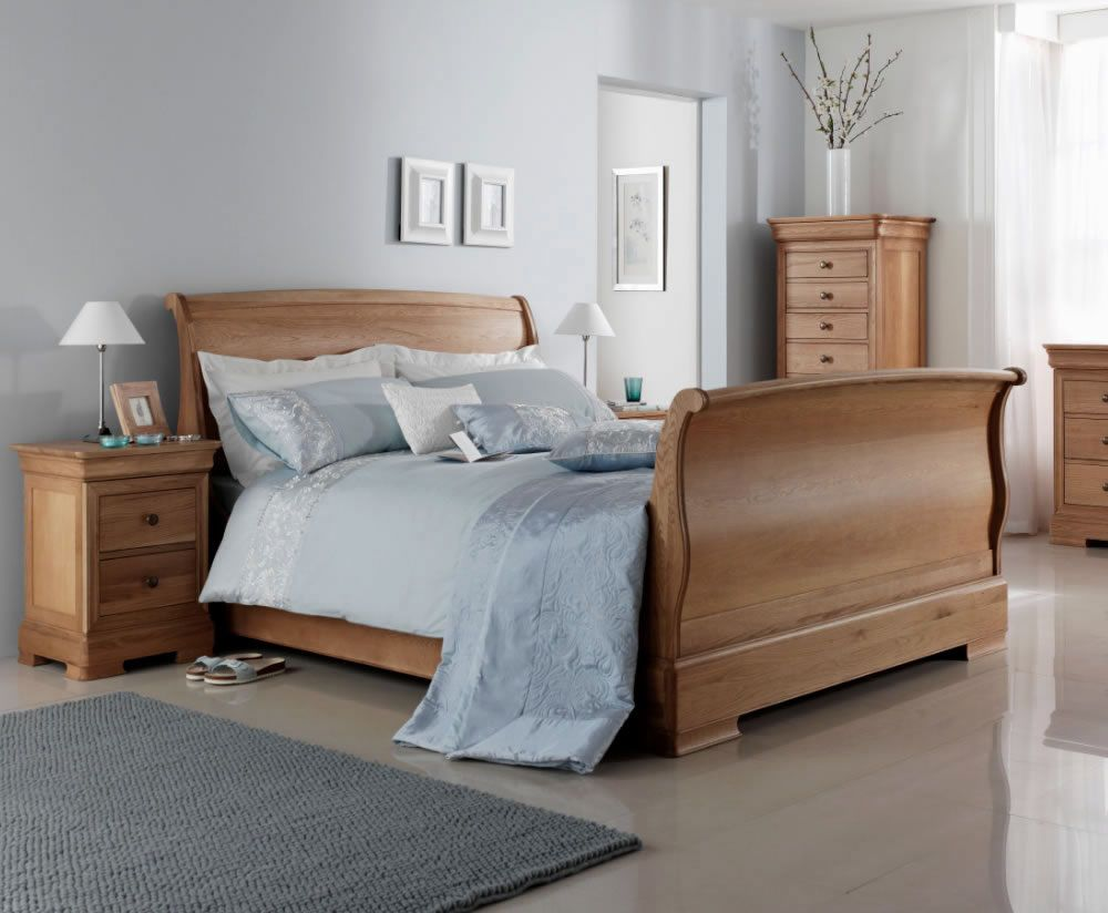 - Nancy High Footend Oak Sleigh Bed, Double, King & Super King Sizes