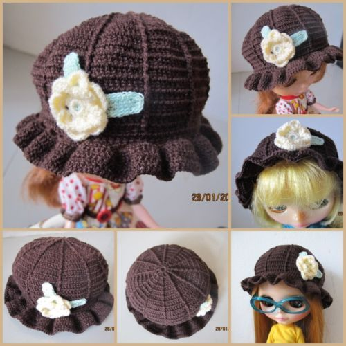 Handmade Cute Dark Brown Classic Crochet Blythe Doll Hat with Flower Decoration 11.99 USD. Free postage worldwide.