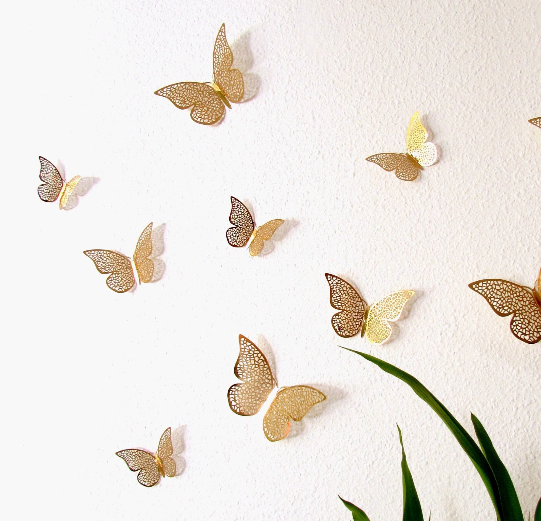 12 Gold Foil Butterflies Home Diy Wedding Decor Butterfly Nursery Wall Decor Shop Windows Golden Wall Butterflies For Crafts In 2020 Butterfly Wall Gold Wall Stickers Butterfly Wall Decor