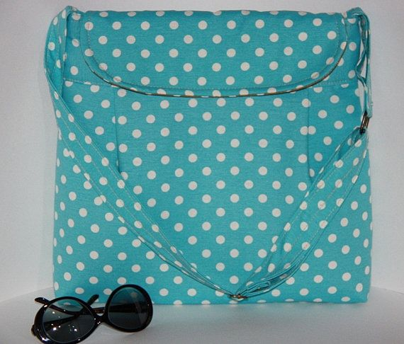 blue polka dot large diaper bag  turquoise polka dot by leyyabags ... b5749e889cb75