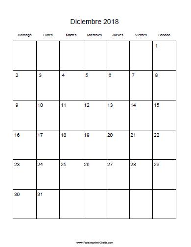 calendario mensual 2018