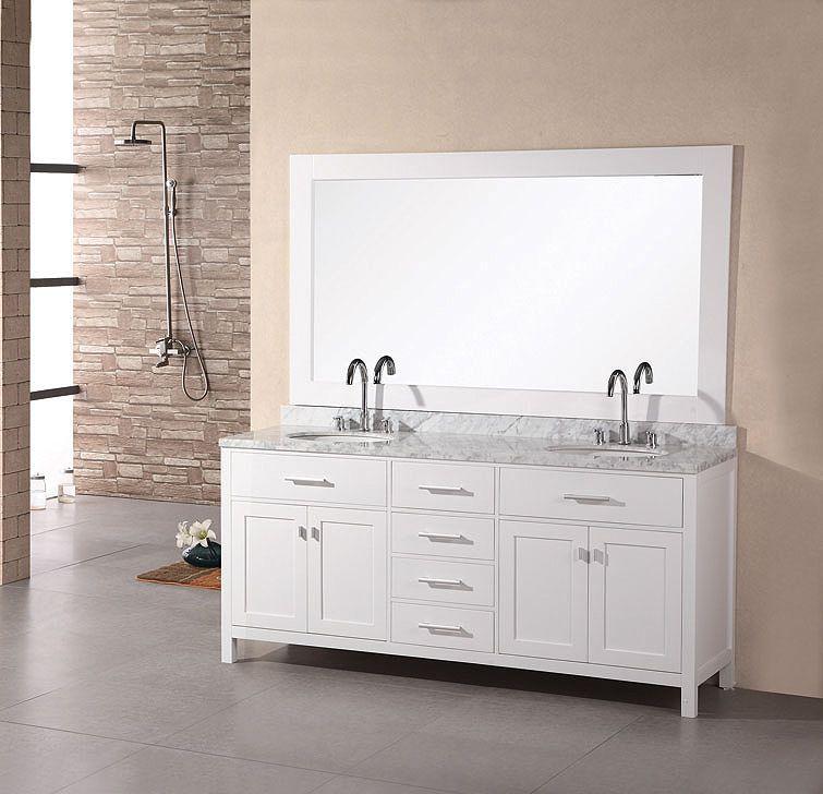 width of double vanity. White Double Sink Bathroom Vanity  61 Inch Width DEC076A W by Design Element Model