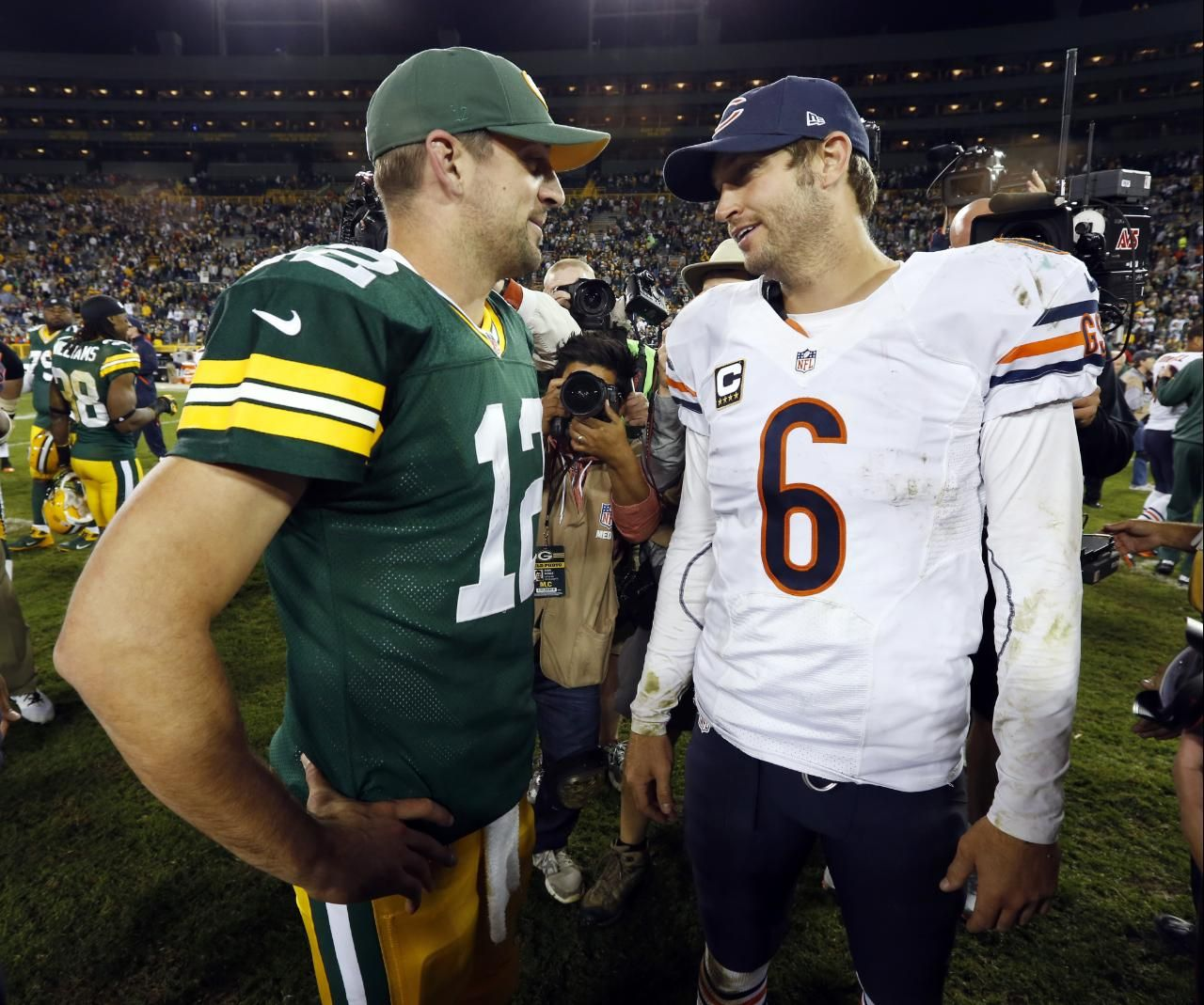 Green Bay Packers Aaron Rodgers 12 Talks To Chicago Bears Jay Cutler 6 After The Second Nfl Football Games Green Bay Packers Aaron Rodgers Chicago Bears