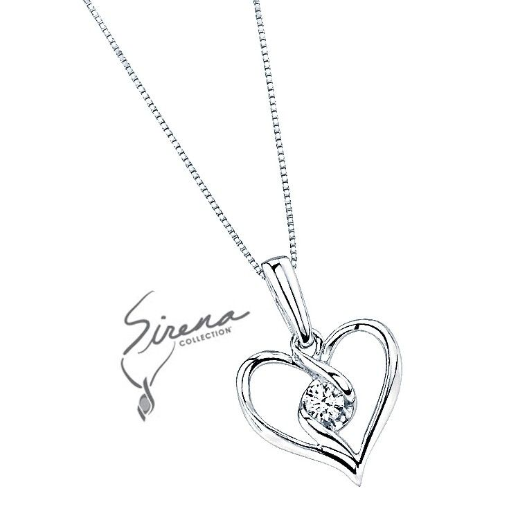 Sirena® Heart Pendant in White Gold, 1/10ctw $449.99