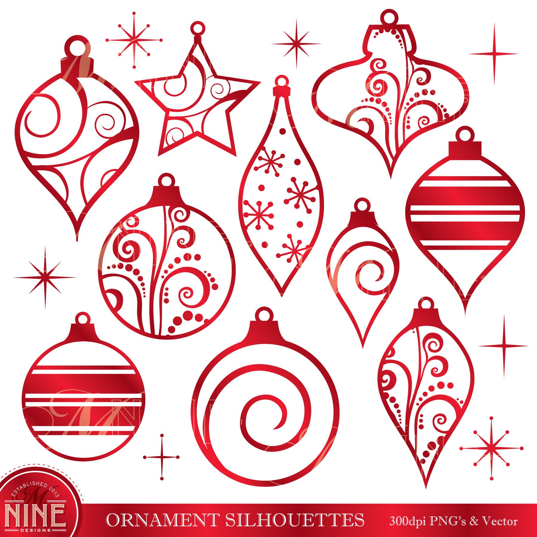 Ornaments Clipart Red Christmas Ornaments Clip Art Vector Etsy Ornament Drawing Christmas Clipart Red Christmas Ornaments