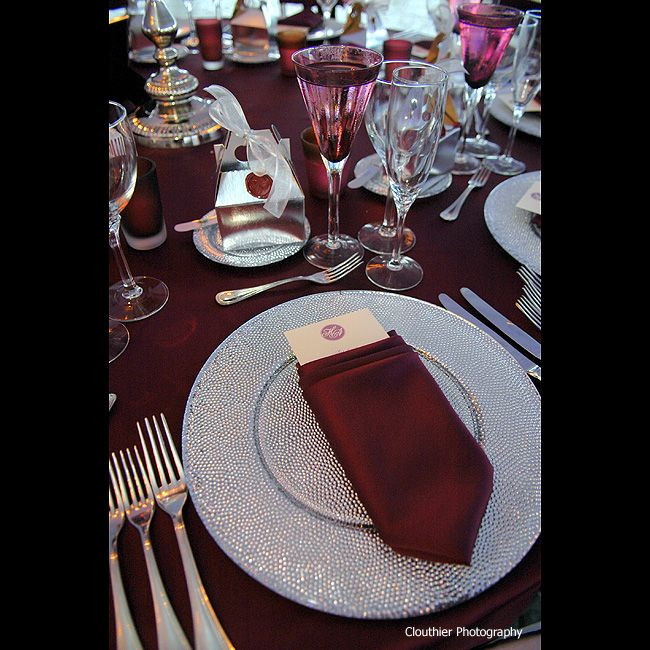 Stoneblossom Floral Event Design Details Burgundy Wedding Theme Pretty Table Settings Silver Table Settings