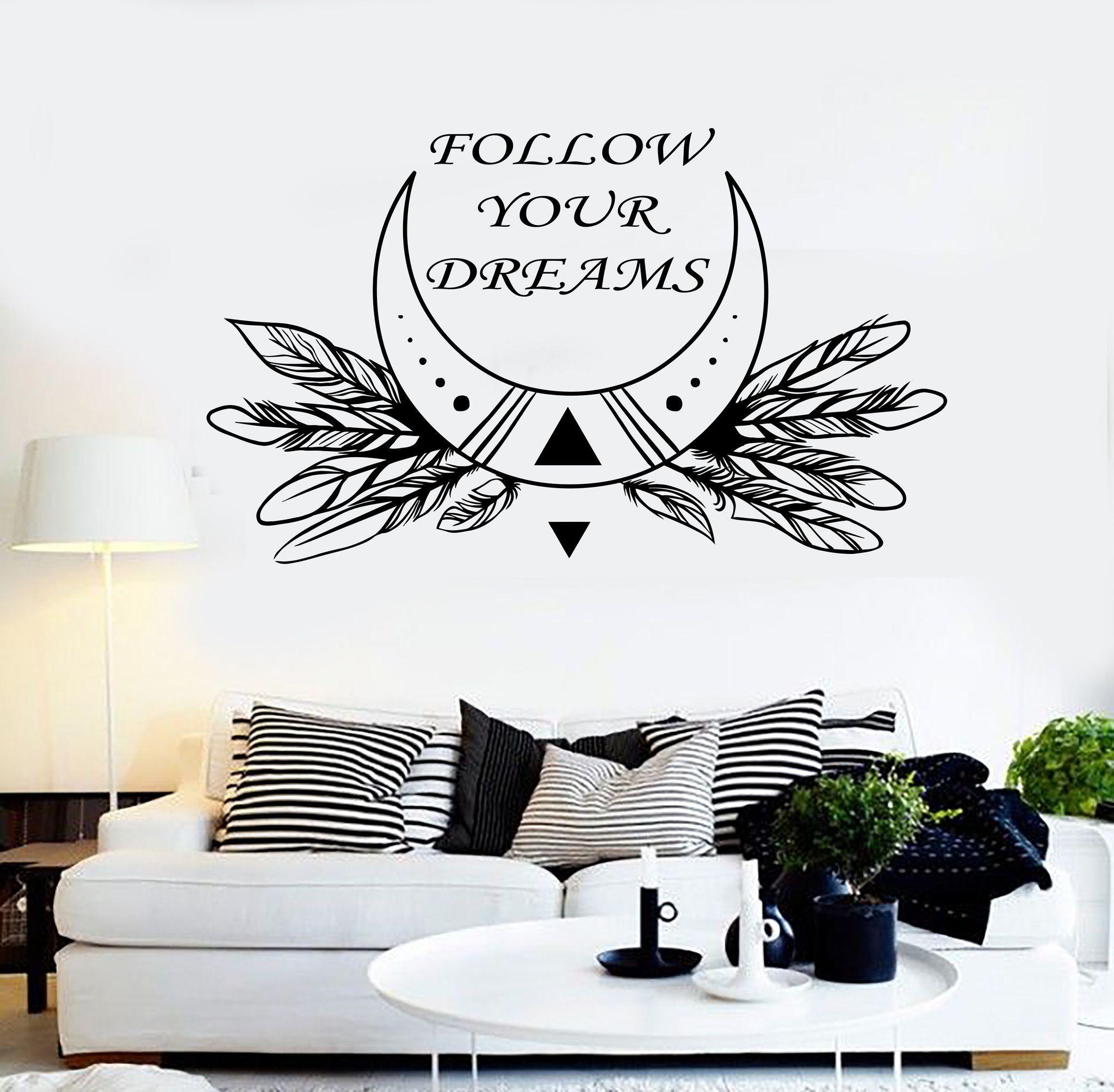 Vinyl wall decal rustic decor moon quote dreams bedroom stickers