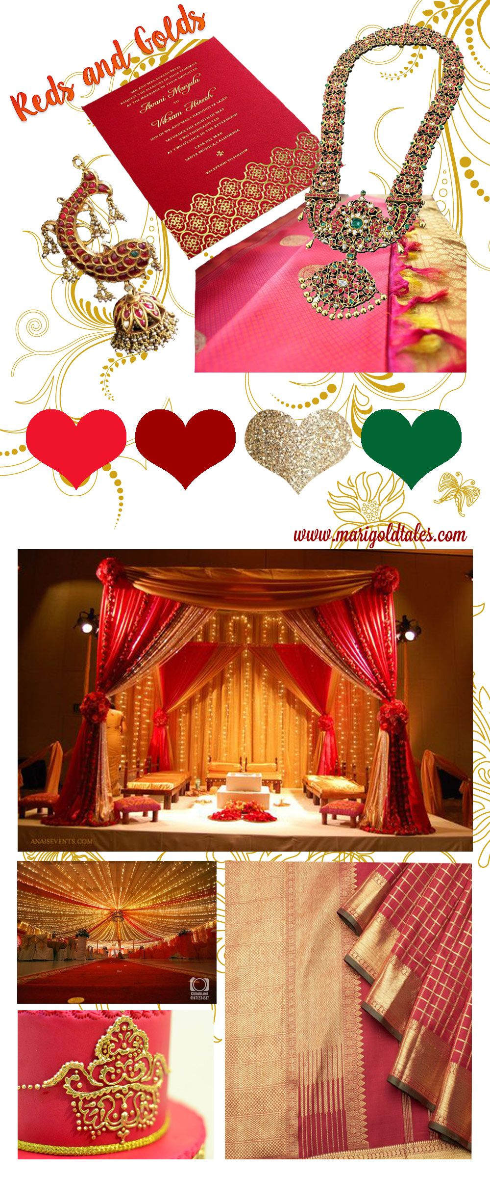 Wedding decorations red  Colour Scheme Fridays u Red and Gold u Marigold Tales  South Indian