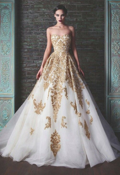 Gold - beautiful gown perfect for dramatic artistic wedding look