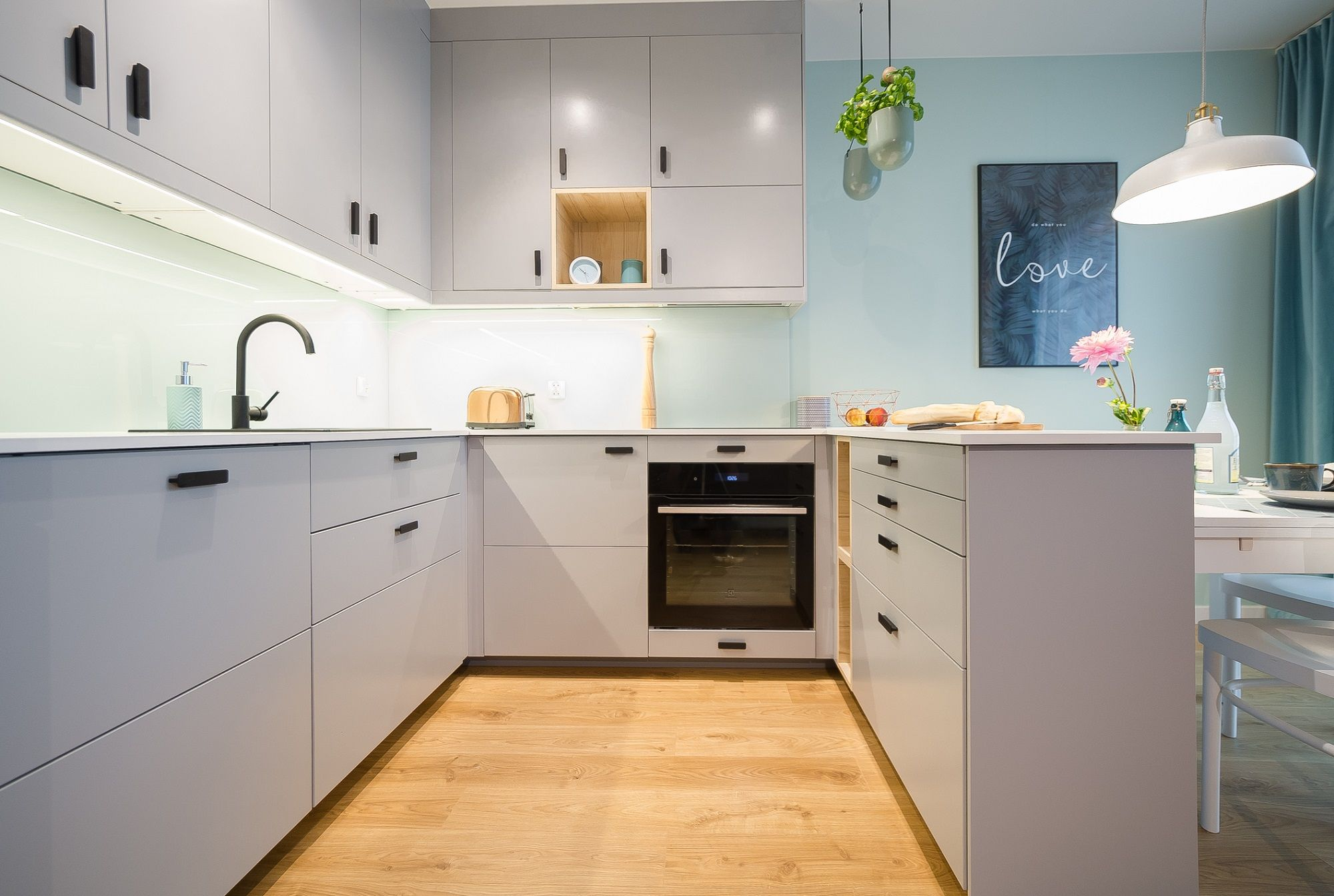 Foorni Pl Projekt Moa Design White Kitchen Matte Surface Mint Wall Basil Wood Floor Wooden Ideas Kuchnia White Kitchen Kitchen Kitchen Cabinets