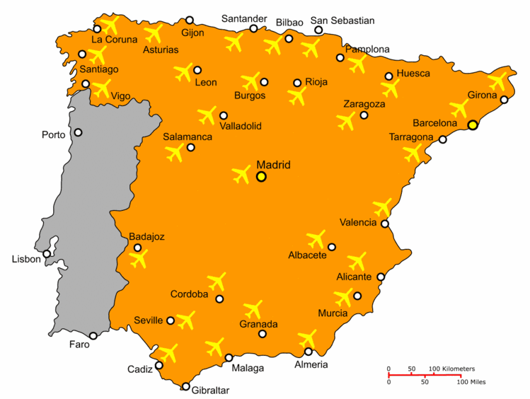 Map Of Spain Showing Airports.Travel Spain Airport Map Camino Map Of Spain Spain Travel Spain