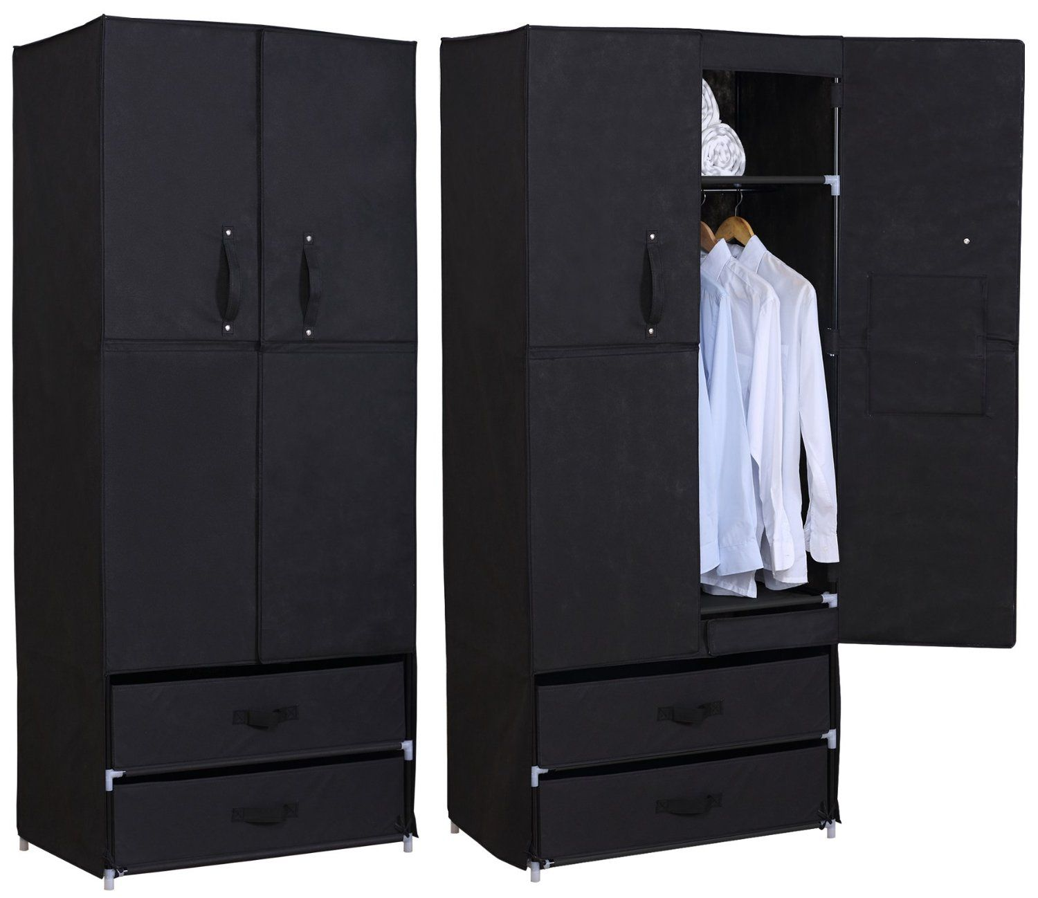 woltu stoff textil kleiderschrank stoffkleiderschrank. Black Bedroom Furniture Sets. Home Design Ideas