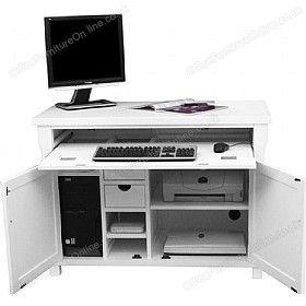 Solid Ash Computer Desk Hideaway