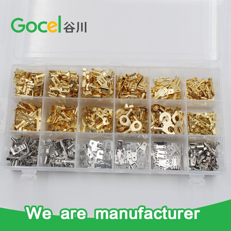 Wire Terminals Crimp Connector Gold And Silver Color Brass Ring Female Male Flag Terminal Kits Brass Ring Silver Color Crimps