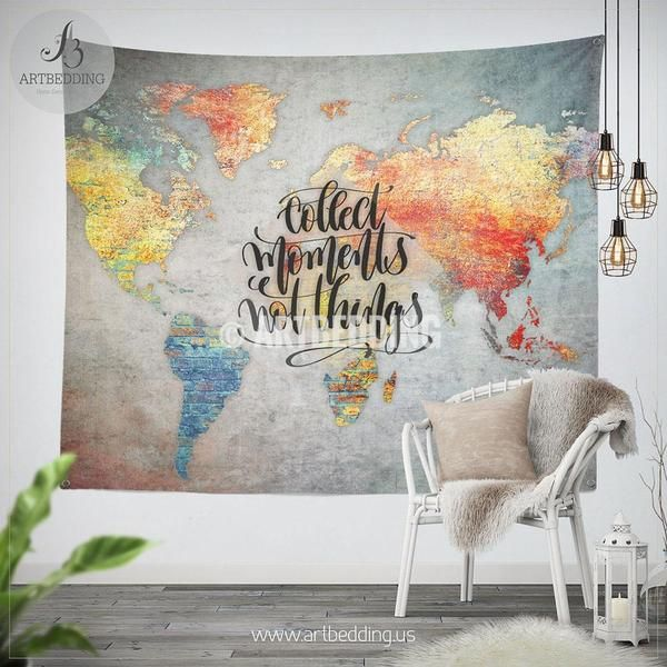 Concrete wall world map inspiration tapestry abstract world map concrete wall world map inspiration tapestry abstract world map wall hanging bohemian travel wall tapestries boho wall decor wall tapestries gumiabroncs Images