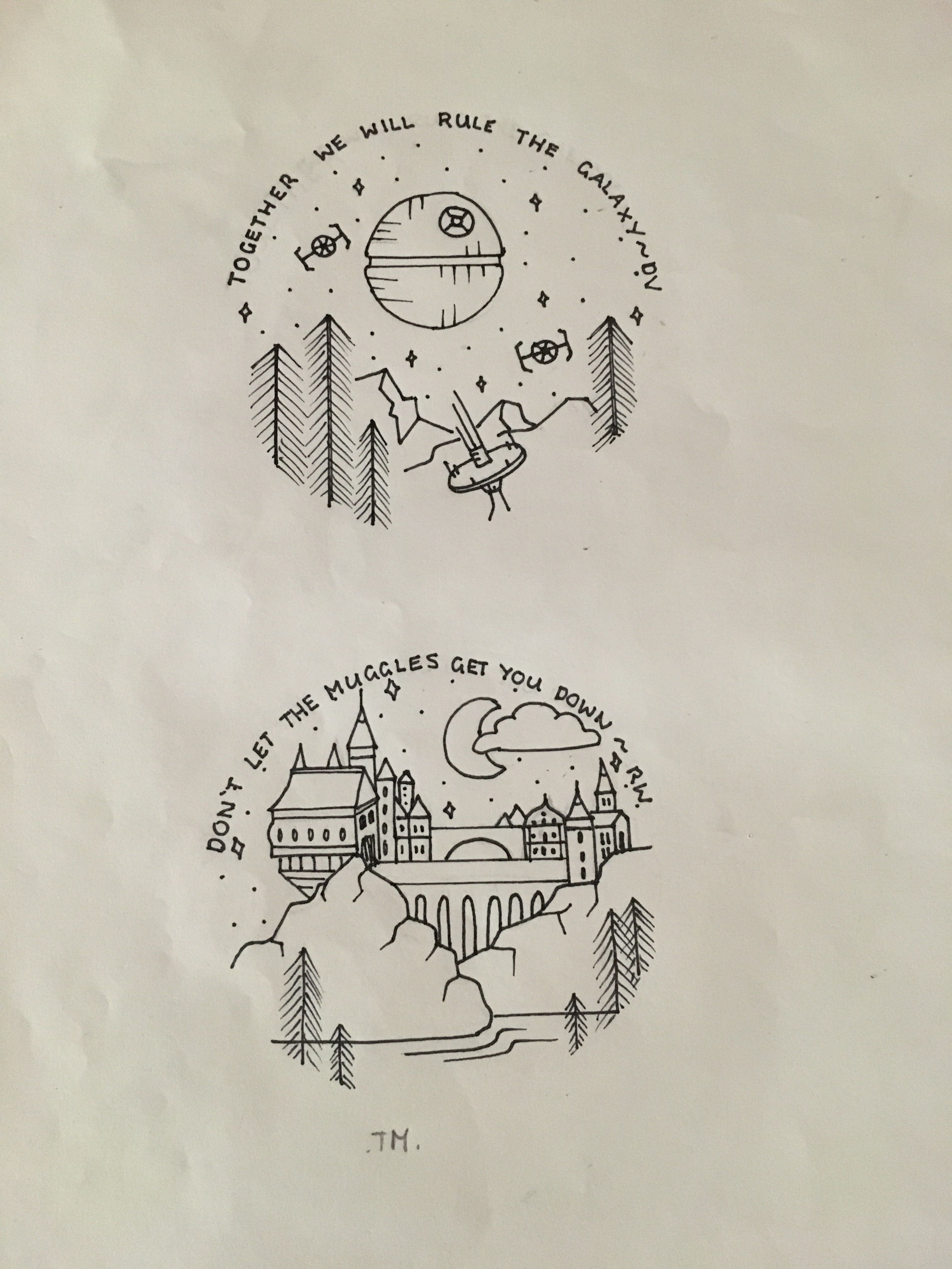 Harry Potter And Star Wars Circle Drawing Art