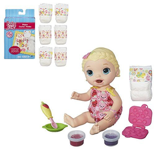 Baby Alive Super Snacks Snackin Lily Blonde With Bonus 6 Pack Diapers Set Baby Alive Super Snacks Baby