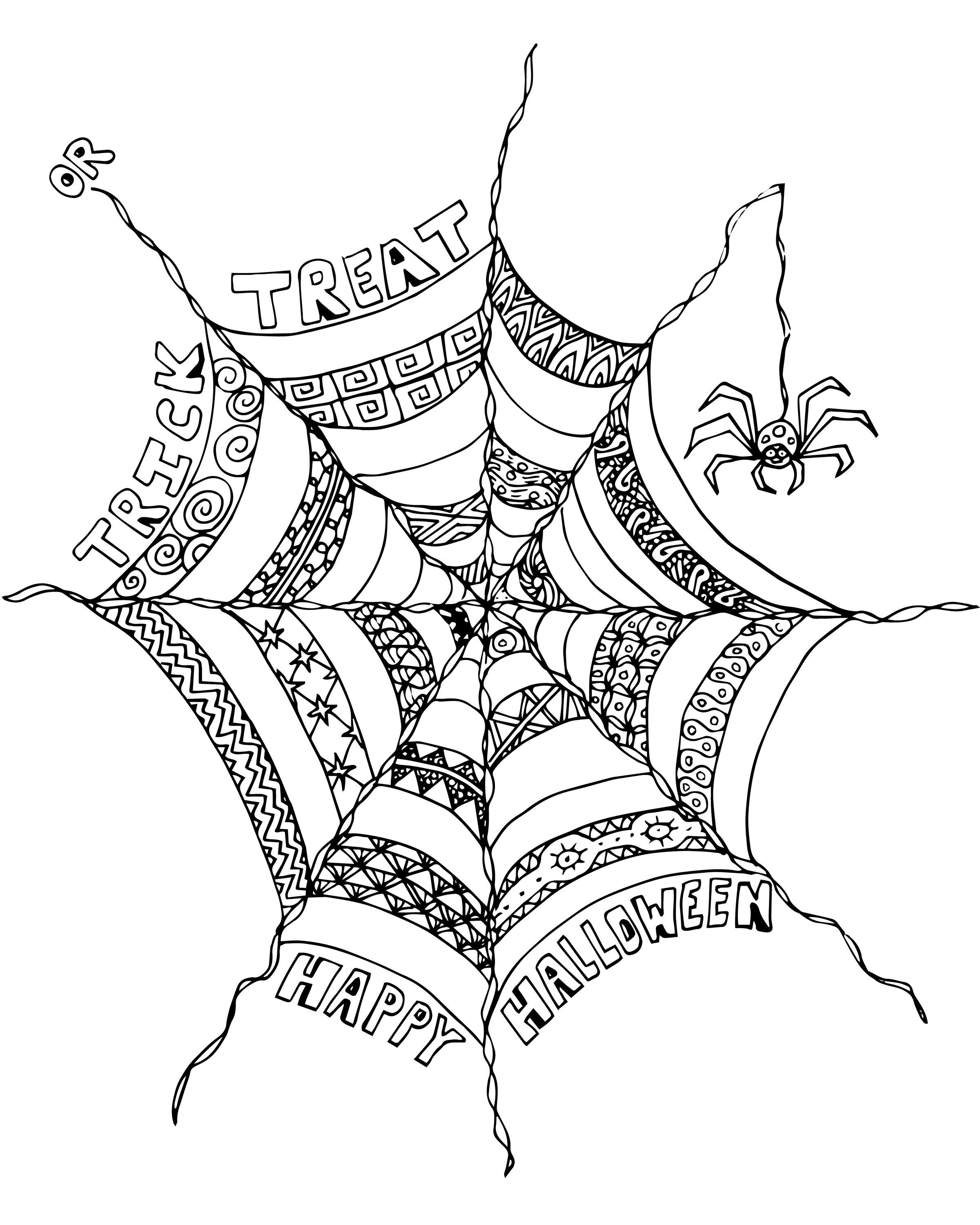 FREE Halloween Adult Coloring Page Spider Web