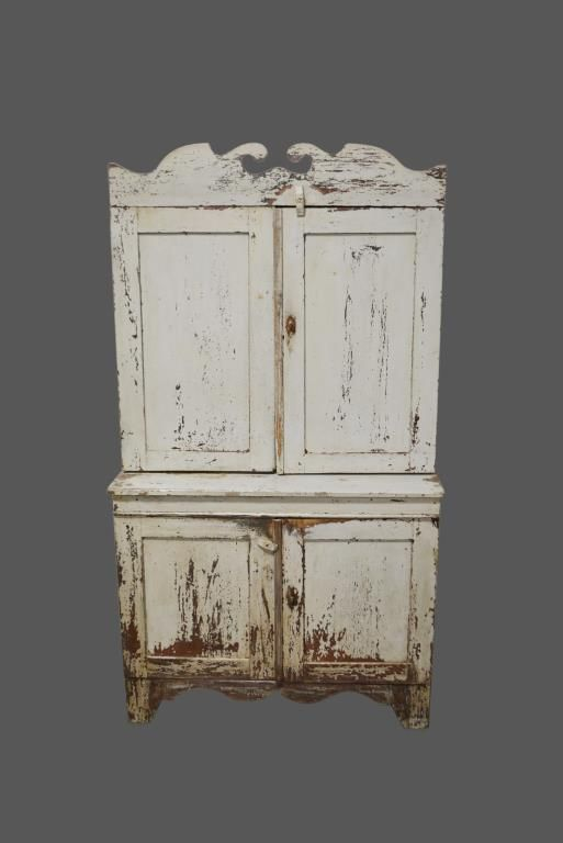 Early Shenandoah Valley Va. Step Back Cupboard Painted 75 1/2