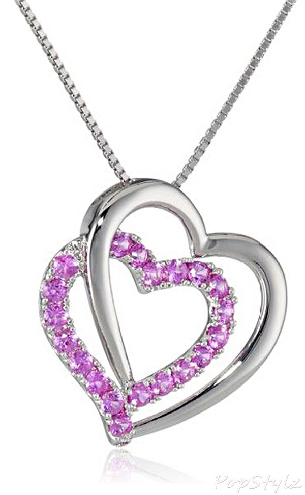 Pink Sapphire Heart Pendant Necklace