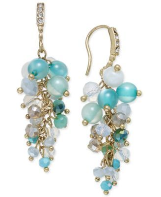 A PAIR BLUE JADE BEAD GOLD TONE EXTRA LONG DANGLY LEVERBACK EARRINGS NEW.