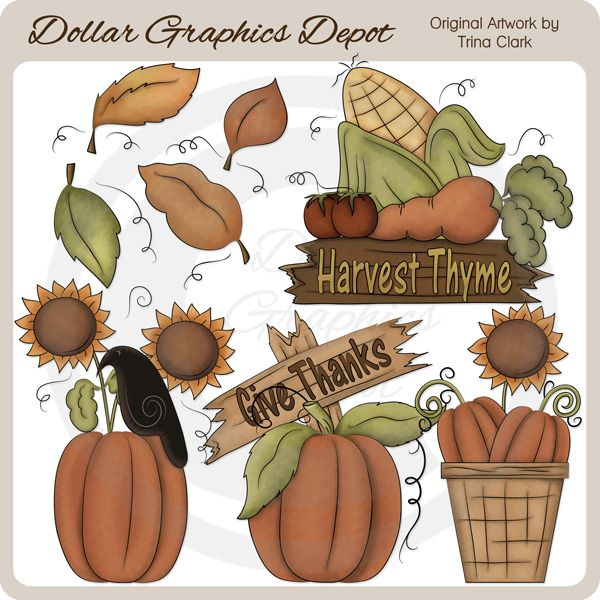 Harvest Thyme Clip Art Collection - Only $1.00 at www.DollarGraphicsDepot.com : Great for printable crafts, web graphics, scrapbook pages, autumn greeting cards, calendars, gift boxes / bags, gift tags / labels, window decals, bag toppers, garden signs, gardening labels, plant stakes, and much more!