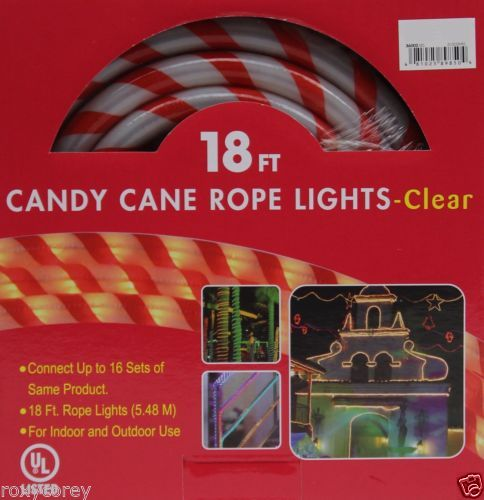 Christmas 18 ft red amp white candy cane tube rope clear lights christmas 18 ft red white candy cane tube rope clear lights nib in home garden yard garden outdoor living outdoor lighting outdoor string lights mozeypictures Images