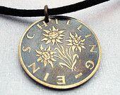 EDELWEISS coin pendant - flower necklace - Austria - 1 schilling coin - flower - edelweiss necklace - flower jewelry - Austrian - Osterreich