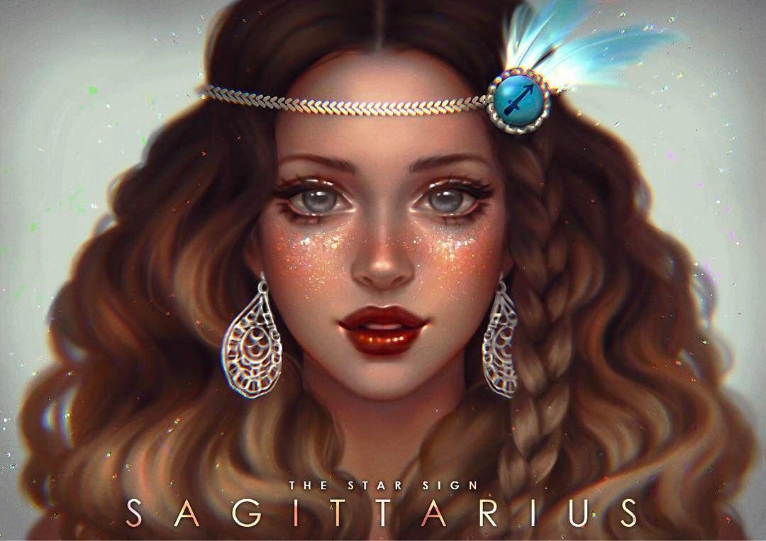 "16 m Gostos, 321 Comentários - Abigail Diaz (@serafleur.art) no Instagram: ""(REPOST-Changed the eye color) Any Sagittarius here? ♐ 💖 #serazodiacs ""Truth seekers, adventurers,…"""