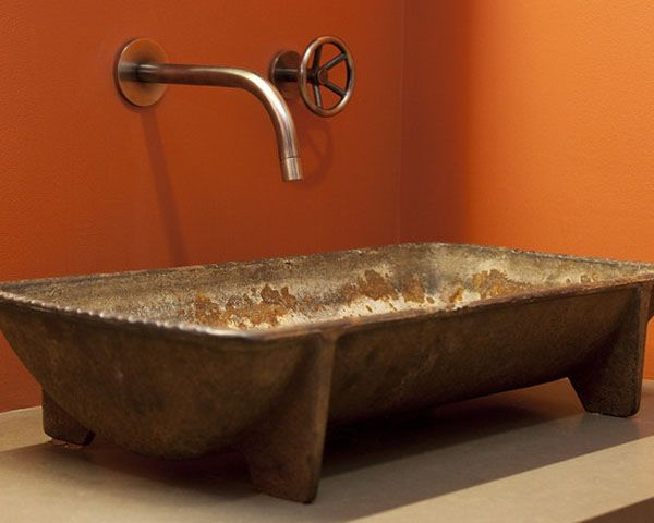 Rustic Bath Rustic bathroom sinks Bathroom sink design and Wall