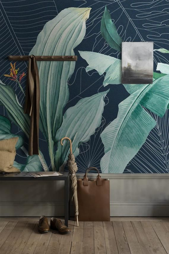 Tropical Wallpaper Green Leaf, Peel and Stick Wallpaper