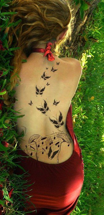b01efe3501614 flying butterflies and music tattoo Future Tattoos, Back Tattoos, Girl  Tattoos, Tatoos,