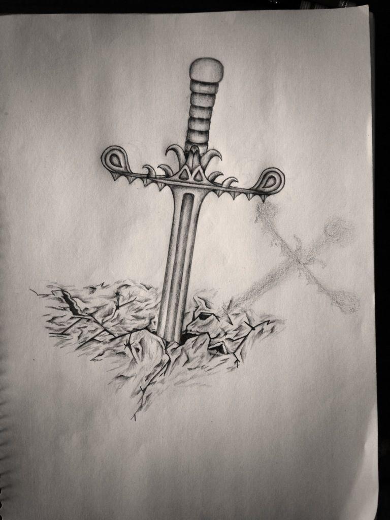 sword in stone tattoo design tattoo designs pinterest stone tattoo tattoo designs and tattoo. Black Bedroom Furniture Sets. Home Design Ideas