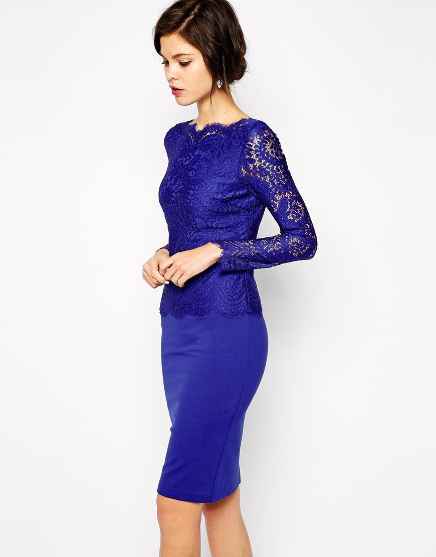Ted Baker Dress with Lace Sleeves and Deep V   Jurkjes   Pinterest