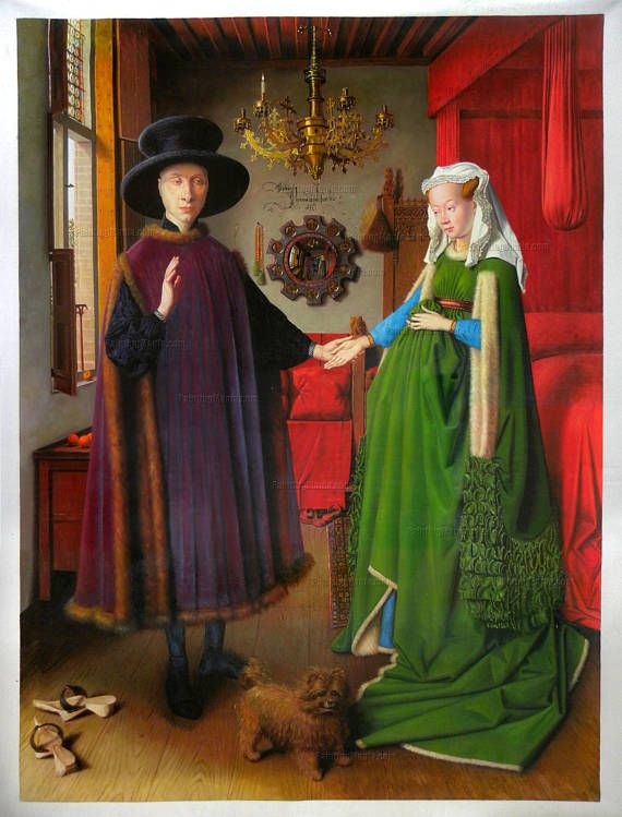 The Arnolfini Portrait Jan Van Eyck High Quality Hand Painted Oil Painting Replica Wedding Marriage Giovanni And His Wife
