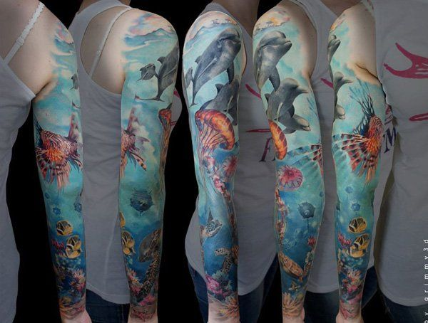 Dolphin Full Sleeve Tattoo - 40  Lovely Dolphin Tattoos and Meanings  <3 <3